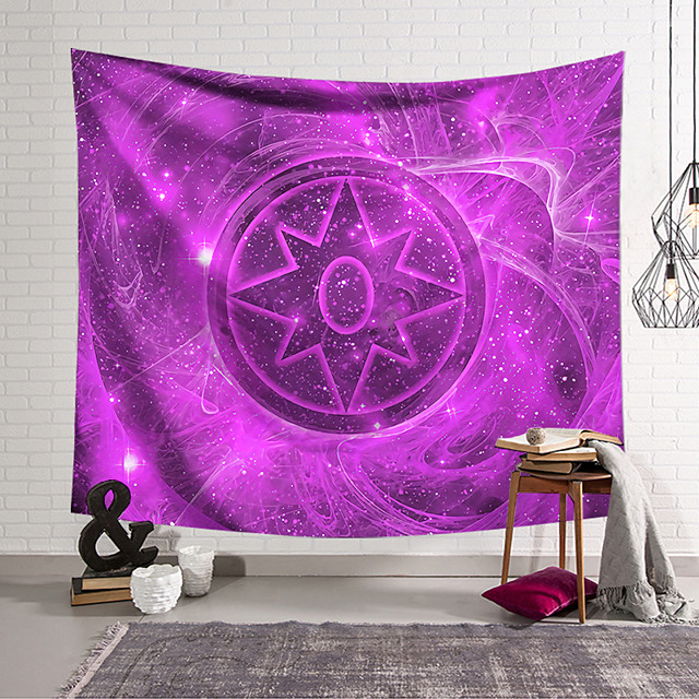 Wall Tapestry Art Decor Blanket Curtain Hanging Home Bedroom Living Room Decoration Polyester Fiber Painted Purple Magic Array Style