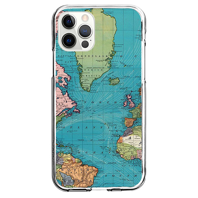 Map Case For Apple iPhone 12 iPhone 11 iPhone 12 Pro Max Unique Design Protective Case and Screen Protector Shockproof Back Cover TPU
