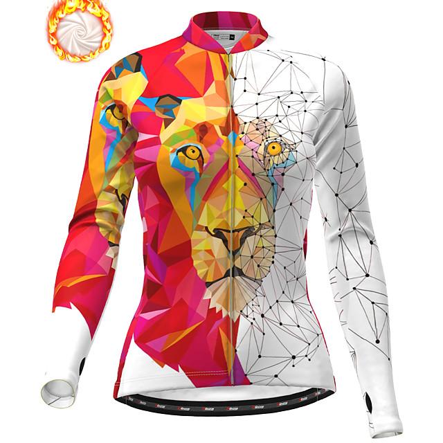 21Grams Women's Long Sleeve Cycling Jacket Winter Fleece Polyester White Animal Bike Jacket Top Mountain Bike MTB Road Bike Cycling Thermal Warm Fleece Lining Breathable Sports Clothing Apparel