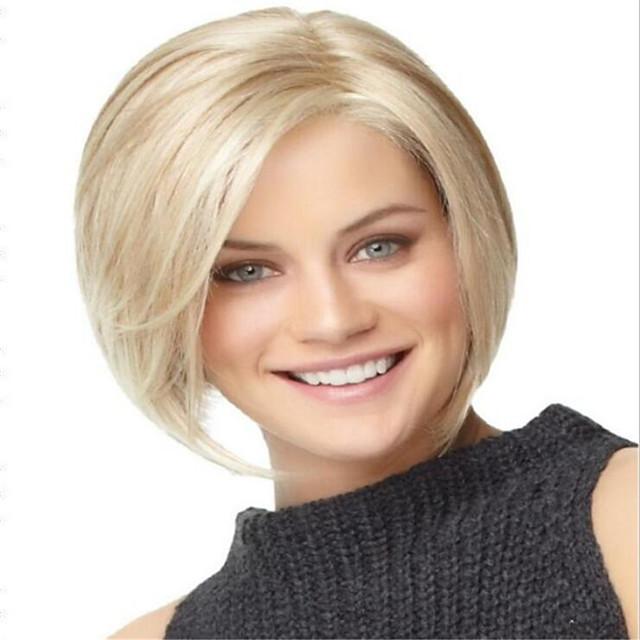 Wig Ladies Short Hair Center Point Golden Highlight Brown Short Straight Hair Bobo Bobo Headgear