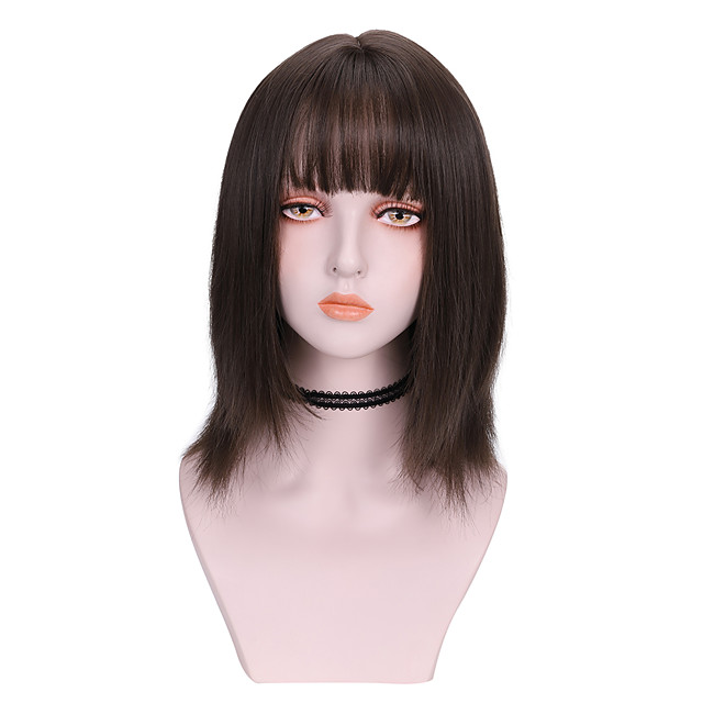 Synthetic Wig Straight With Bangs Wig Medium Length Light Brown Brown Black Synthetic Hair 14 inch Women's Comfy Fluffy Black Brown