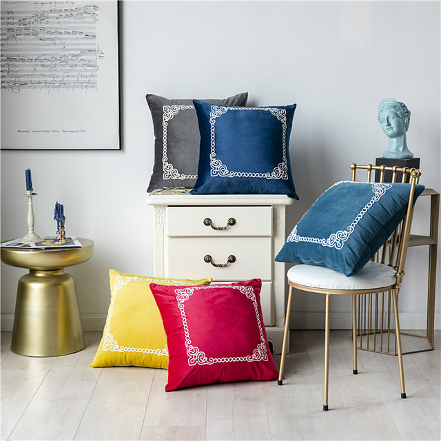 1 Pc Decorative Solid Colored Simple Casual Embroidery Throw Pillow Cover Pillowcase Cushion Cover for Bed Couch Sofa 18*18 Inches 45*45cm