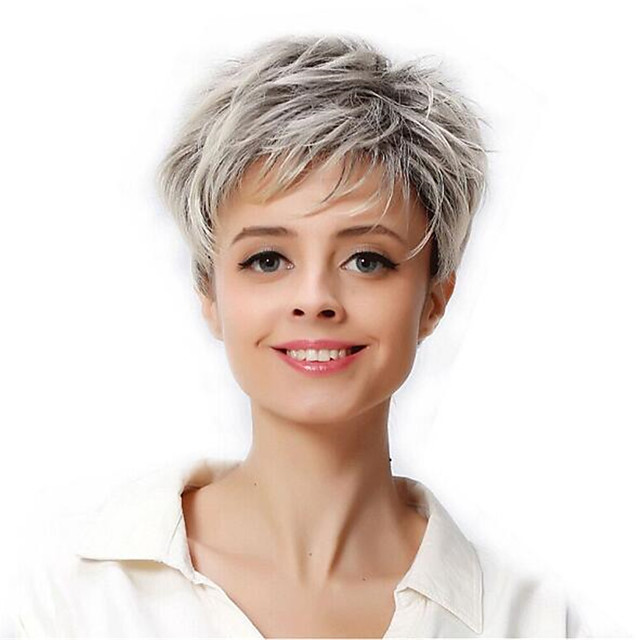 Synthetic Wig Curly Pixie Cut Wig Medium Length Silver grey Synthetic Hair Women's Soft Cool Color Gradient Dark Gray