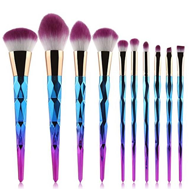 10pcs gradient colorful makeup brush set spiral texture makeup brushes (color : bright color)