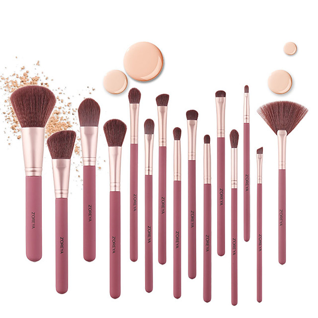 15Pcs Wine Red Rubber Paint Wooden Handle Makeup Brushes Comfortable Synthetic Hair Powder Concealer Eye Shadow Fan Brush