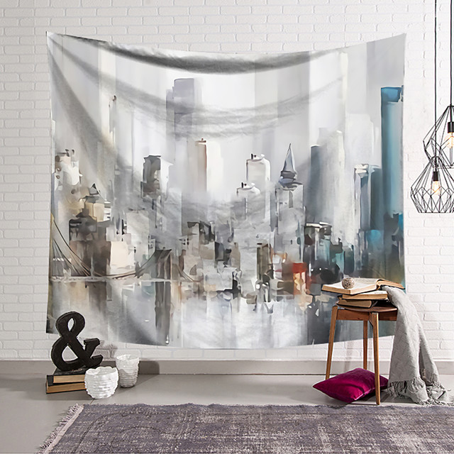 Oil Painting Style Wall Tapestry Art Deco Blanket Curtain Hanging Home Bedroom Living Room Dormitory Decoration Polyester Abstract Pattern Architecture Manstion City
