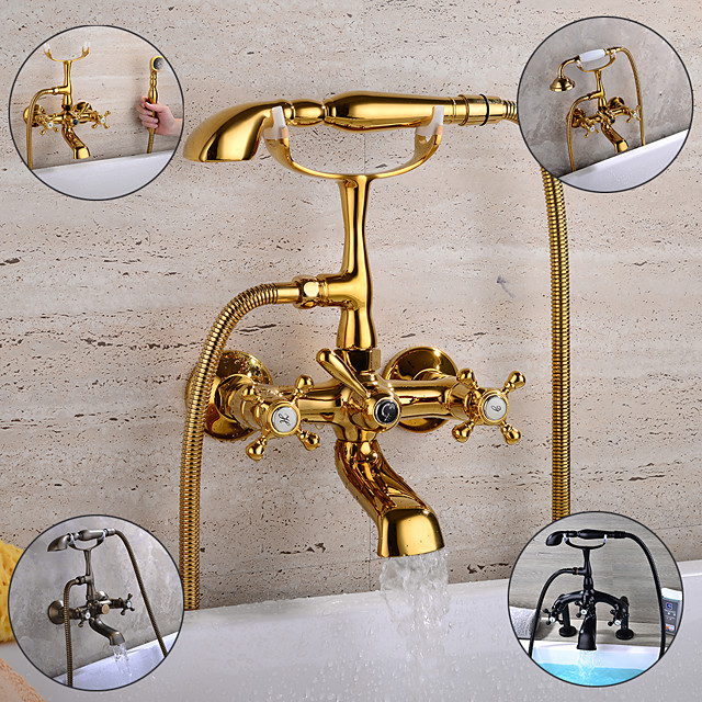Brass Bathtub Faucet,Retro Antique Royal Style Wall Mounted / Deck Mounted Bath Roman Tub Bath Shower Mixer Taps with Handheld Shower for Wash Shower Room