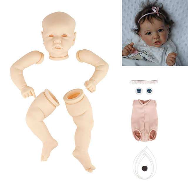 22 inch Reborn Toddler Doll DIY Unpainted Reborn Baby Doll Kit Professional-Painting Kit Baby Boy Baby Girl Saskia Hand Made Floppy Head No Eyelashes, Hair, Flesh Color Cloth Silicone Vinyl with