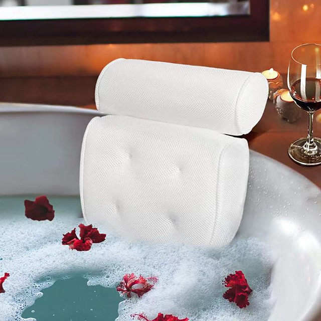 3D Mesh Pillow Anti-bacteria And Anti-mite SPA Jacuzzi Pillow Over-water Quick-dry Bath Pillow 1PCS