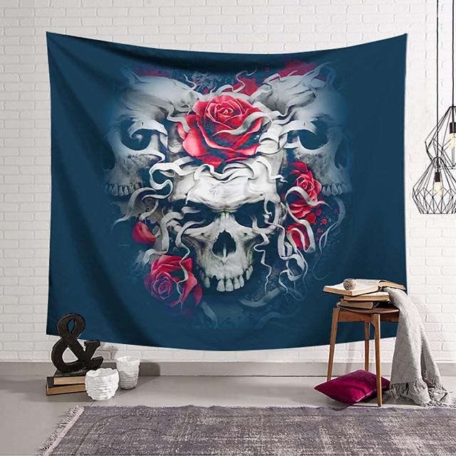 Wall Tapestry Art Decor Blanket Curtain Hanging Home Bedroom Living Room Decoration Polyester Fiber Still Life Strange Skull Red Rose