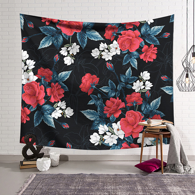 Wall Tapestry Art Deco Blanket Curtain Hanging Home Bedroom Living Room Dormitory Decoration Polyester Fiber Plant Red and White Painted Flowers