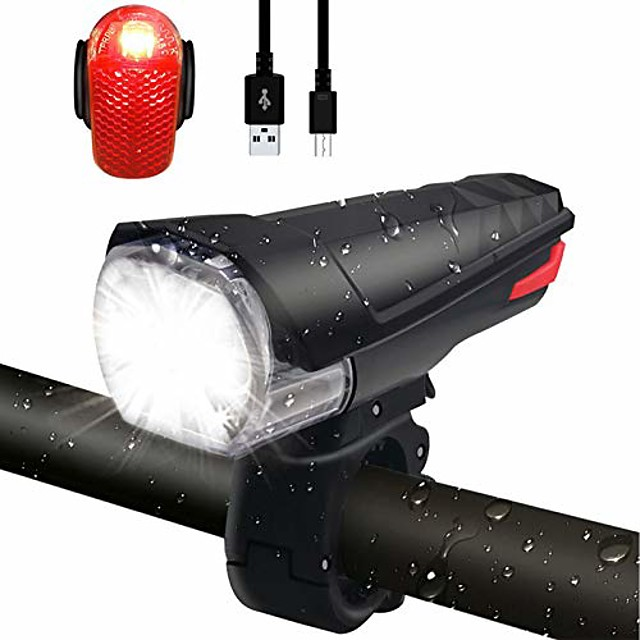 led bicycle light front light tail light set, [latest] stvzo approved 380 lumen light usb rechargeable bicycle light bike light ipx5 waterproof lamp set set for bicycle, black