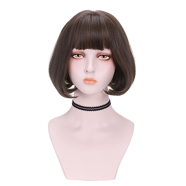 Synthetic Wig Curly Bob With Bangs Wig Short Light Brown Dark Brown Brown Black Synthetic Hair 8 inch Women's Comfy Fluffy Black Brown