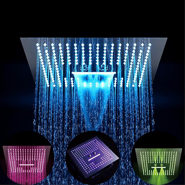 Paslanmaz çelik çevre dostu / 64 renkli led / duş tavana monte yağış + jet / masaj duş başlığı sistemi ile tamamlanan 16 inç termostatik yağmur duşu