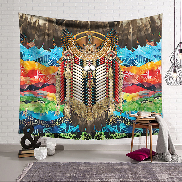 Wall Tapestry Art Decor Blanket Curtain Hanging Home Bedroom Living Room Decoration Polyester Fiber Color Pattern Feather Owl Lanting Design Style
