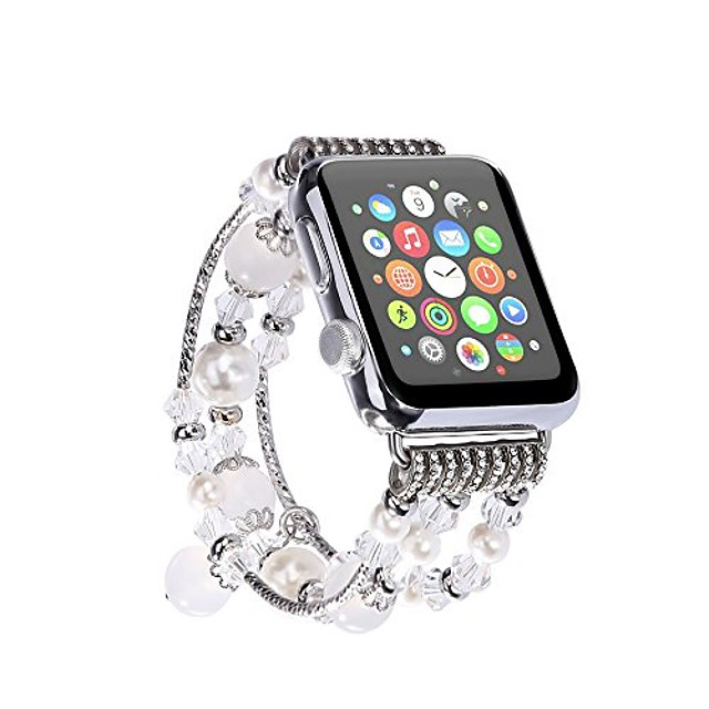 for iwatch strap, [jewel series] handmade elastic stretch faux agate and crystal bracelet replacement with women/girls wristband for iwatch series 4/3/2/1 all version (42mm /44mm white)