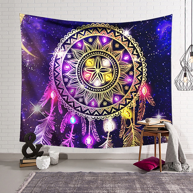 Mandala Bohemian Wall Tapestry Art Decor Blanket Curtain Hanging Home Bedroom Living Room Decoration Boho Hippie Indian Polyester Psychedelic Dream Catcher Crystal Sky