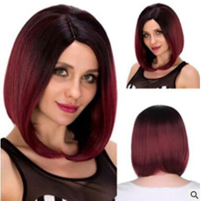 Synthetic Wig Straight Middle Part Wig Medium Length Wine Red Synthetic Hair Women's Soft Cool Middle Part Burgundy