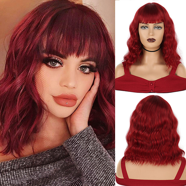 Short Bob Style Wavy Synthetic Wigs 14 Inches 210g  with Bangs Heat Resistant Cosplay Wig  African American 14 colors available
