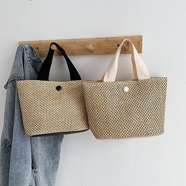 Women's Bags Top Handle Bag Straw Bag Holiday Beach 2021 Handbags Black Beige