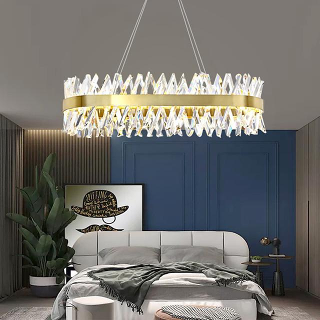 1-Light 100 cm Crystal Pendant Light Gold Eye Protection Chandelier Metal Painted Finishes LED Chic & Modern 110-120V 220-240V