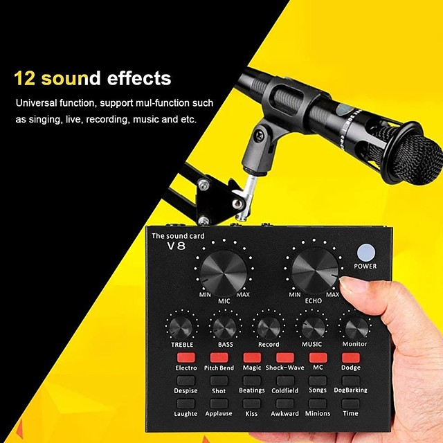 V8 Audio Interface Usb Sound Card Webcast Audio Microphone Live Sound Card Usb Bluetooth External Function For Phone Pc