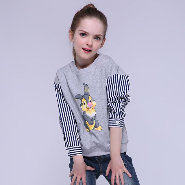 Παιδιά Κοριτσίστικα Κοντομάνικη μπλούζα Κοντομάνικο Μακρυμάνικο Ριγέ Γραφική Ζώο Στάμπα Γκρίζο Βαμβάκι Παιδιά Άριστος Ενεργό Βασικό