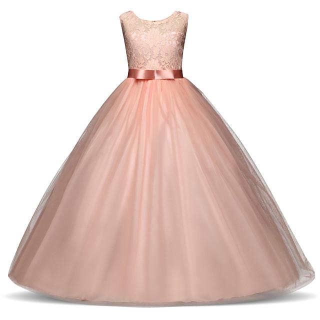 Kids Little Girls' Dress Solid Colored Layered Mesh Lace White Blue Purple Maxi Sleeveless Cute Dresses Regular Fit
