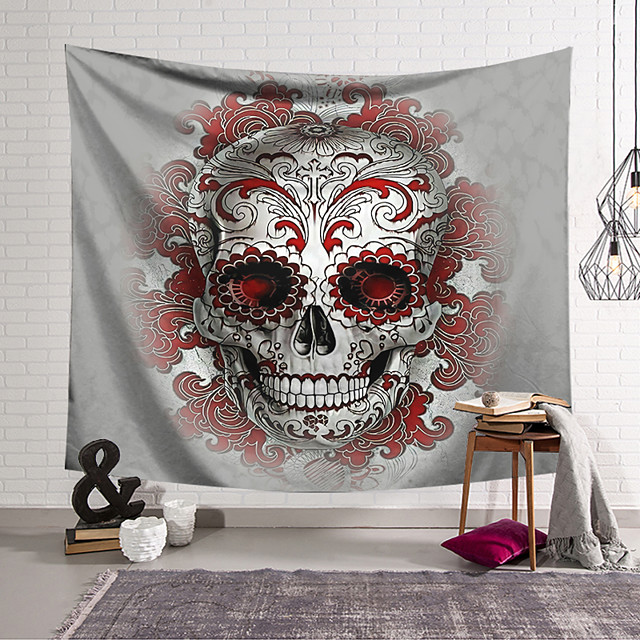 Wall Tapestry Art Decor Blanket Curtain Hanging Home Bedroom Living Room Decoration Polyester Fiber Still Life Weird Gray Skull with Red Pattern