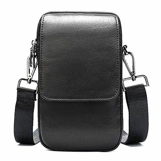 cell phone crossbody wallet purse leather black, cell phone belt clip pouch men, 6.5