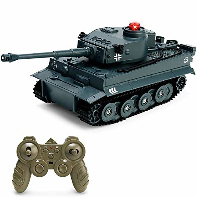 rc tank 1/30 remote control military battle tank toy that shoots with lights & realistic sounds rc vehicle 270°rotational military toy truck (german blue)