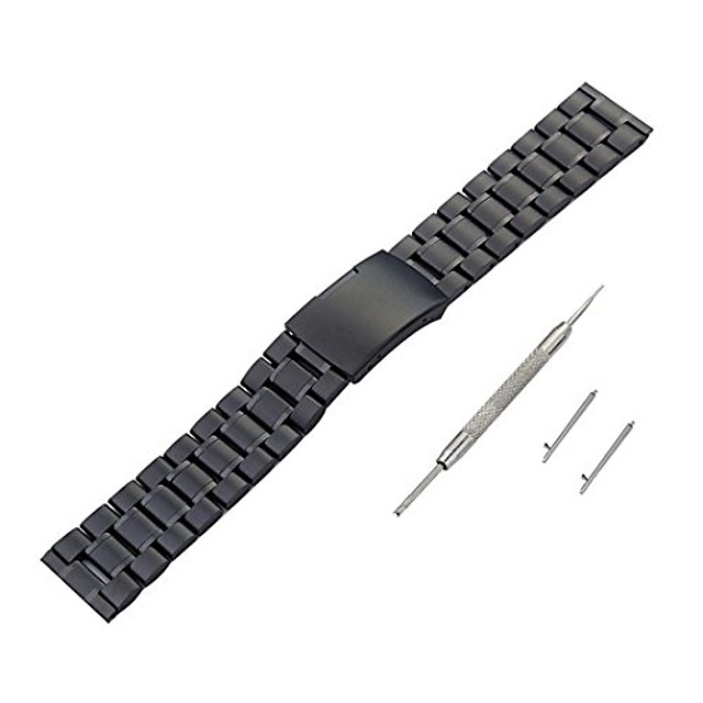 watch accessory band, 22mm edelstahl armband schnellverschluss uhrenarmband for pebble time for pebble time 2,sporting goods accessories (black)