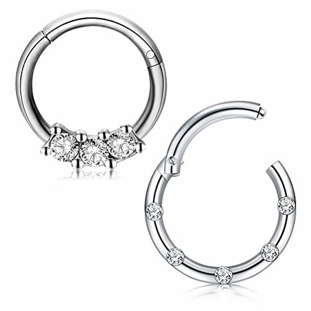 16g stainless steel nose rings hoop cz clicker seamless segment septum rings piercing jewelry 8mm