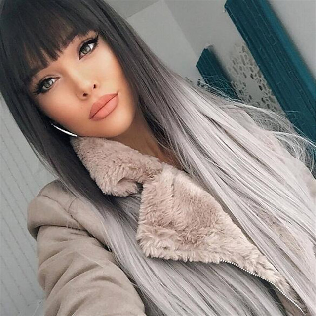 26 Inch Ladies Wig Temperament Long Straight Hair Black Gray Bangs Dyeing Gradient Long Hair High Temperature Silk Wig