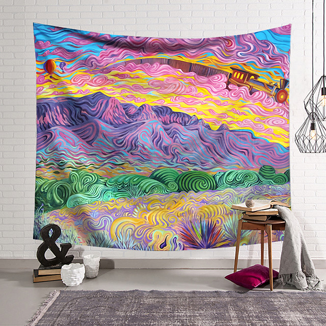 Wall Tapestry Art Decor Blanket Curtain Hanging Home Bedroom Living Room Decoration Polyester Hippie Mountains Psychedelic Abstract