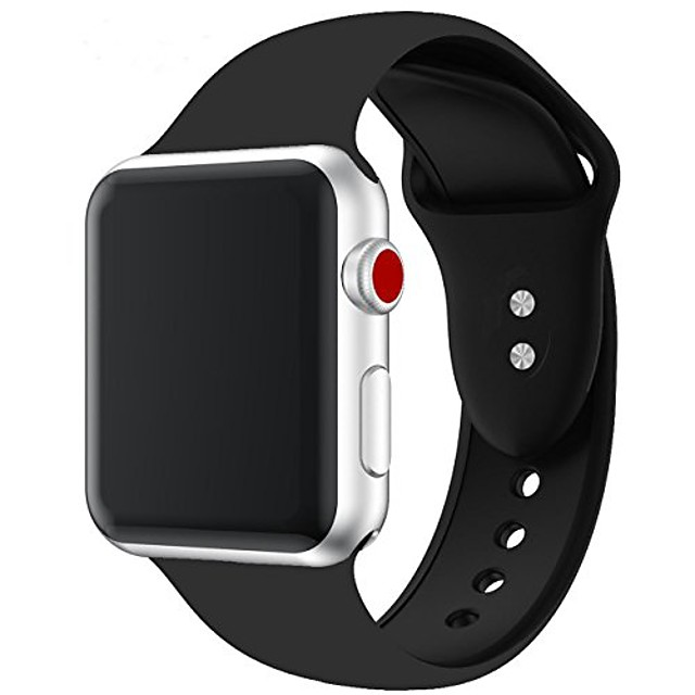 silicone watch band 42mm 40mm 44mm 38mm  fit for women/ men fashion casual or sports watch bands for apple/ iwatch series 6/se/5/4/3 series 2 series 1. (black)