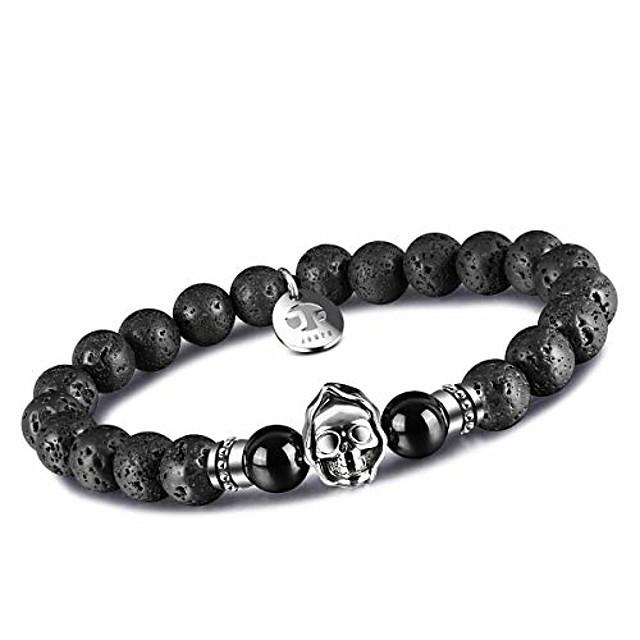agate mens bead bracelets, grim reaper skull bracelets 8mm natural onyx gemstone beads charm healing elastic bracelet (jf-reaper-lava)