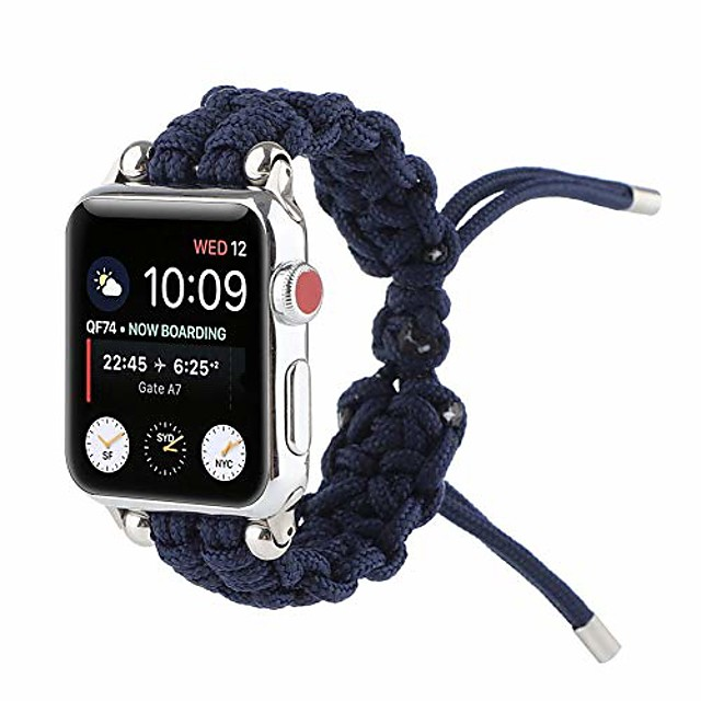 pure color watch replacement bands compatible with apple watch 38/40/42/44mm, braided rope bracelet strap for iwatch series 6/5/4/3/2/1, sports edition and se, for women/men,blue,38mm