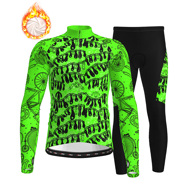 21Grams Men's Long Sleeve Cycling Jersey with Tights Winter Fleece Polyester Green Bike Clothing Suit Thermal Warm Fleece Lining Breathable 3D Pad Warm Sports Printed Mountain Bike MTB Road Bike