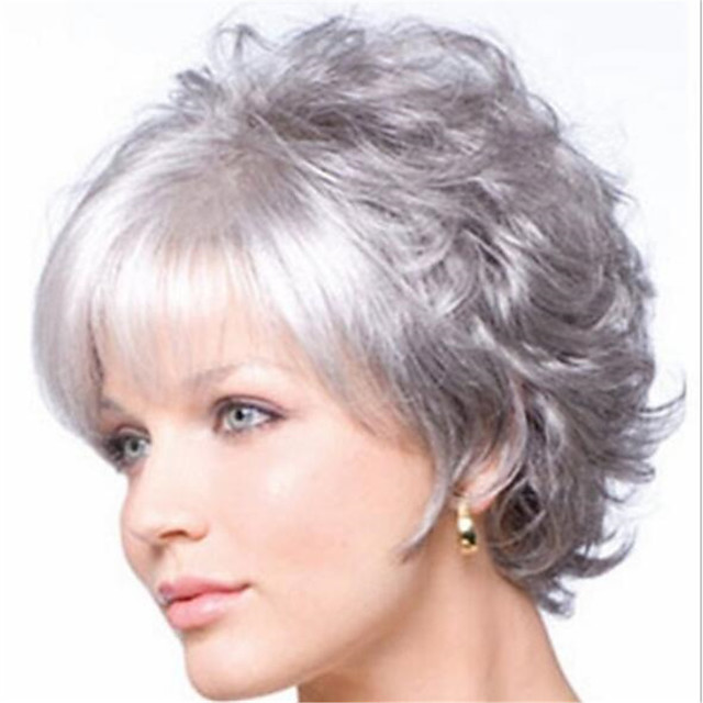 Synthetic Wig Curly Pixie Cut Wig Short Silver grey Synthetic Hair Women's Soft Cool Comfy Silver Dark Gray