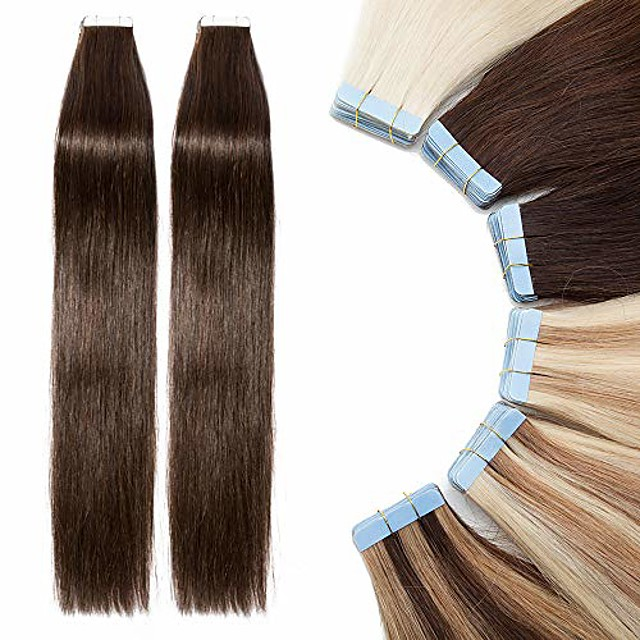 tape in hair extensions 40 pcs human hair - 100% real remy hair straight seamless skin weft hair extension (#02 dark brown, 16 inch, 80g)