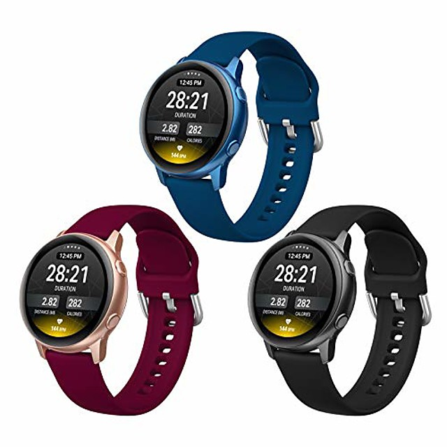 sport bands compatible with samsung galaxy watch 3 41mm / galaxy watch active 2 44mm / active 40mm, 3 pack 20mm soft silm silicone replacement strap for galaxy watch 42mm smartwatch women men