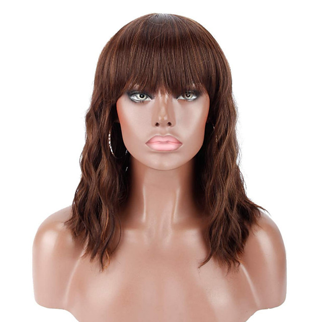 14 Synthetic Black Wigs with Brown Highlights with Hair Bangs Short Wavy Curly Wig for WomenNatural Looking and Heat Resistant Full Head Hair Replacement Wig for Daily Wear or Costume Wig