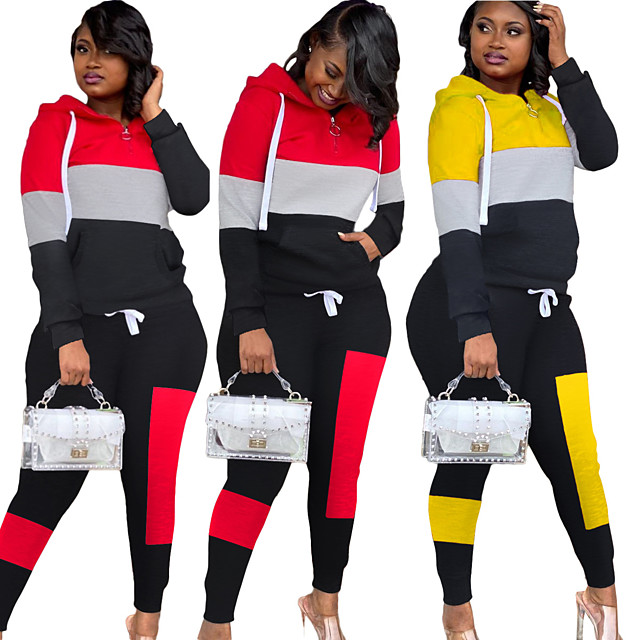 Women's 2 Piece Splice Tracksuit Sweatsuit Street Casual 2pcs Long Sleeve Thermal Warm Breathable Soft Fitness Gym Workout Running Active Training Exercise Sportswear Normal Hoodie Yellow Red
