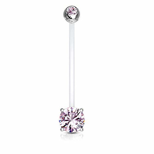 double jeweled prong set round cz crystal pregnancy maternity bioflex belly button navel ring (pink)