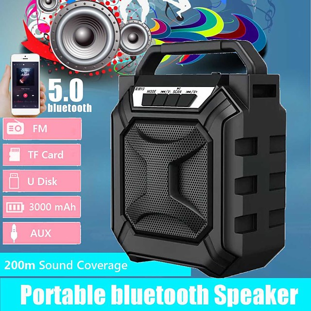 Outdoor Portable Subwoofer Column bluetooth Speaker Wireless Powerful Sports Speakers Radio FM Mp3 player