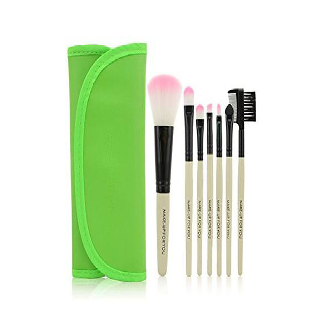 7pcs makeup brushes make up brushes professional make up makeup brush set with leather case, green