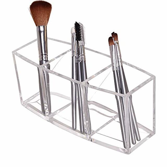 acrylic makeup brush holder organizer, 3 slot make up brush holder cup, makeup brush case for storage & assort, clear