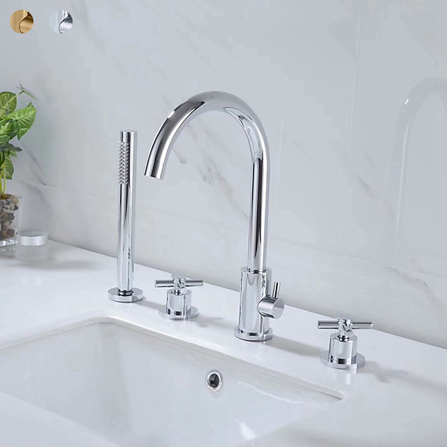 Bathtub Faucet Contemporary Chrome Roman Tub Brass Valve Bath Shower Mixer Taps with Cold and Hot Switch