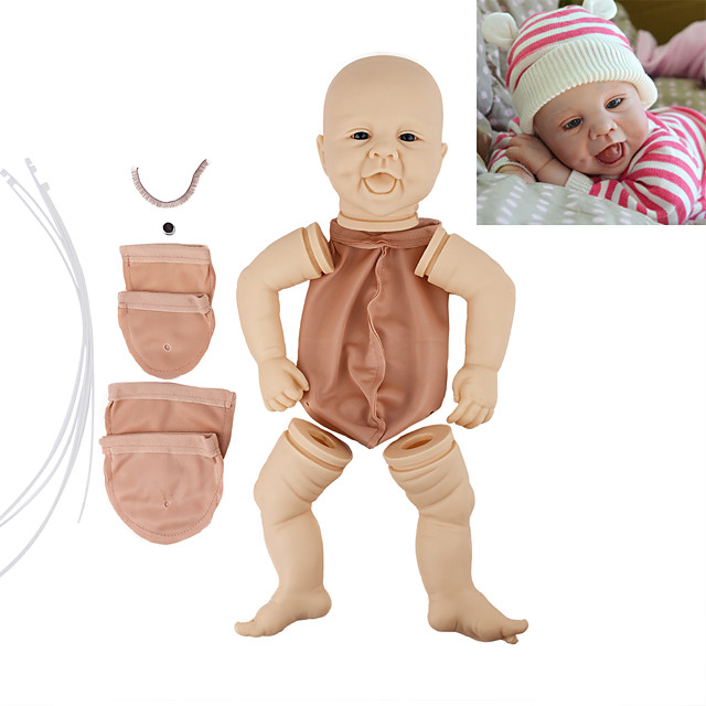 17 inch Reborn Toddler Doll DIY Unpainted Reborn Baby Doll Kit Professional-Painting Kit Baby Boy Baby Girl Hand Made Floppy Head No Eyelashes, Hair, Flesh Color Cloth Silicone Vinyl with Clothes and